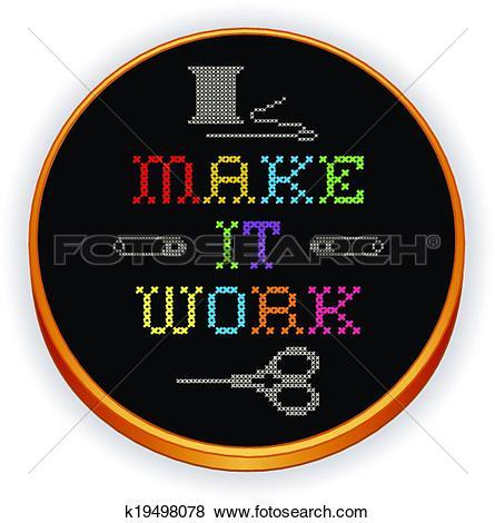 Clip Art of Embroidery, Make it Work, wood hoop k19498078.