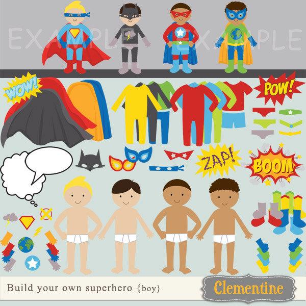 "build your own superhero"" digital clip art/paper dolls."