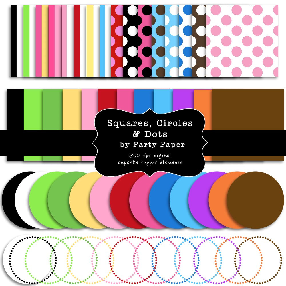 INSTANT DOWNLOAD Make Your Own Cupcake Toppers Digital Circle and.