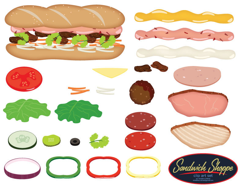 Sandwich Toppings Clipart.