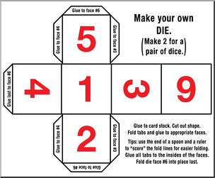 Clip Art: Make Your Own Dice 2 Color 1 I abcteach.com.