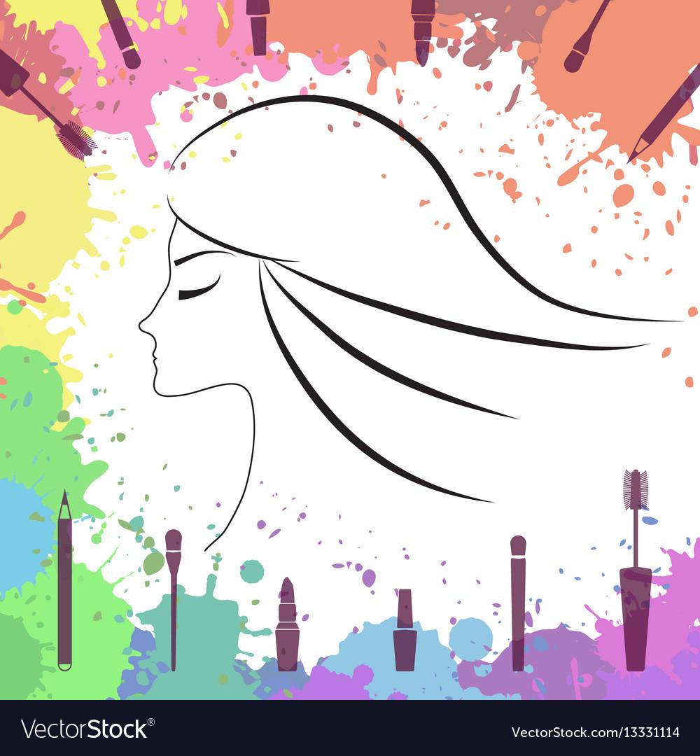 Face of beautiful girl makeup artist logo.