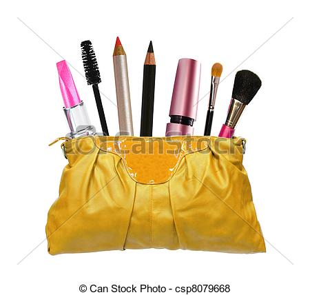 Pictures of Beautiful golden makeup bag and cosmetics isolated on.