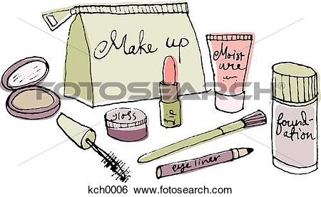 Stock Illustration of A make up bag and cosmetics kch0006.