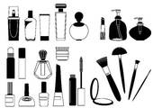Clip Art of Cosmetic products .Vector collection on white for make.