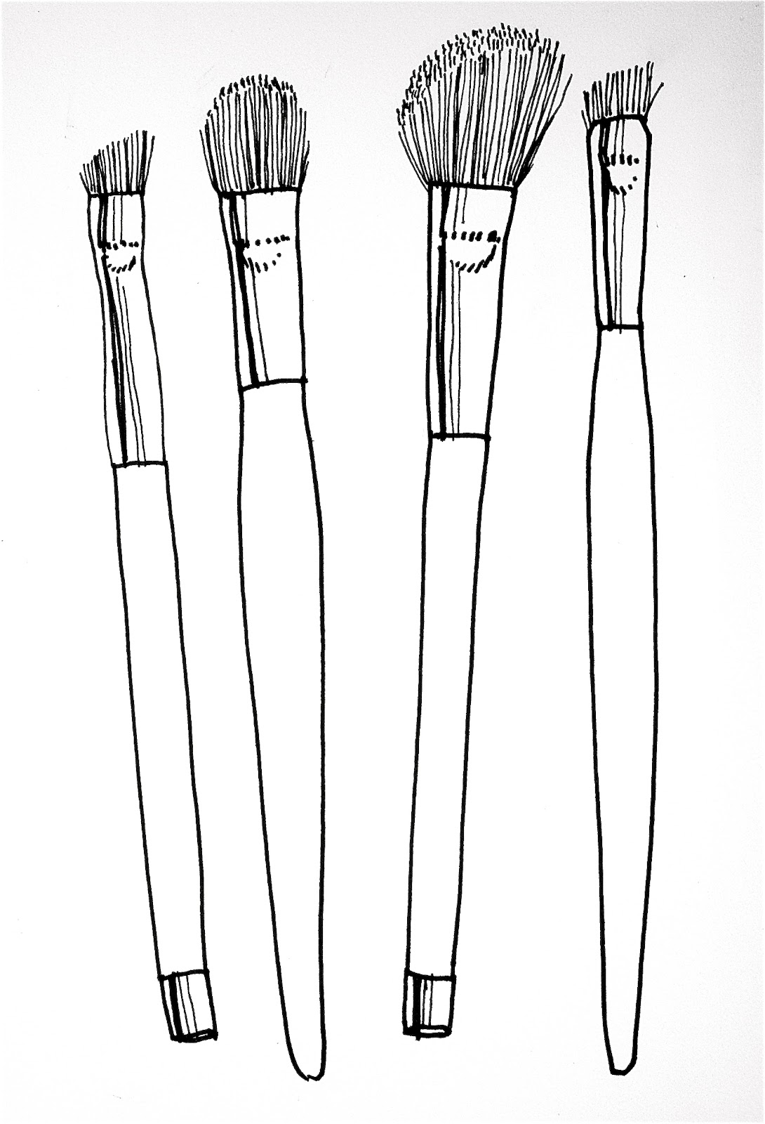 In Black And White Makeup Brush Diagram.