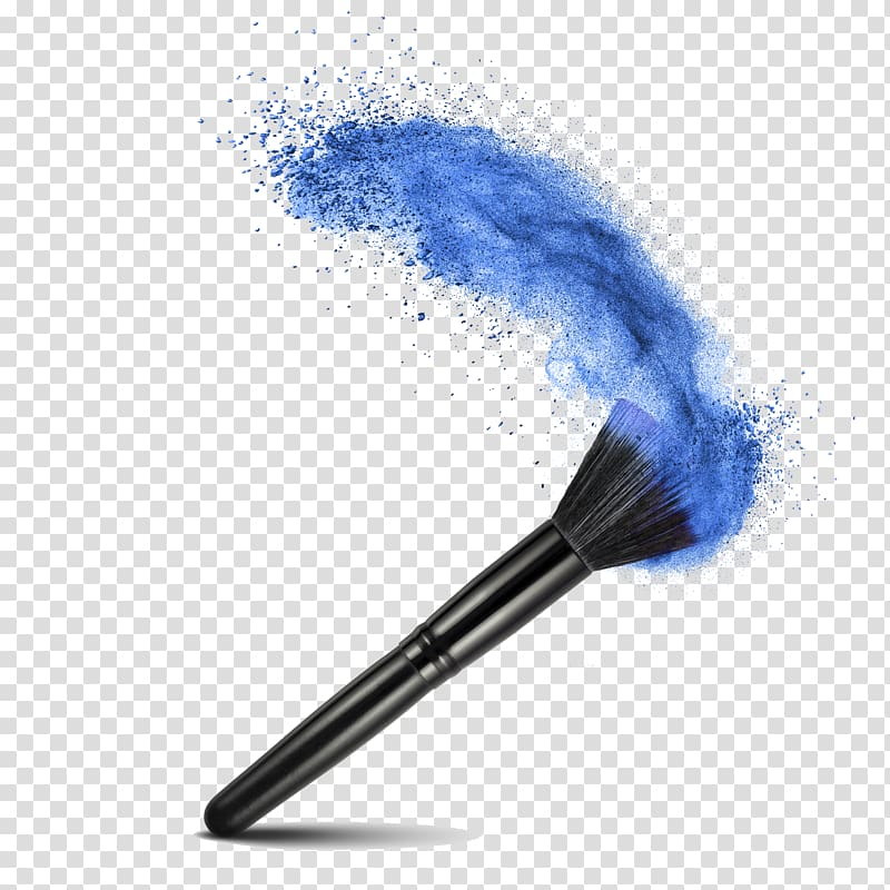 Black makeup brush with blue makeup illustration, Face.