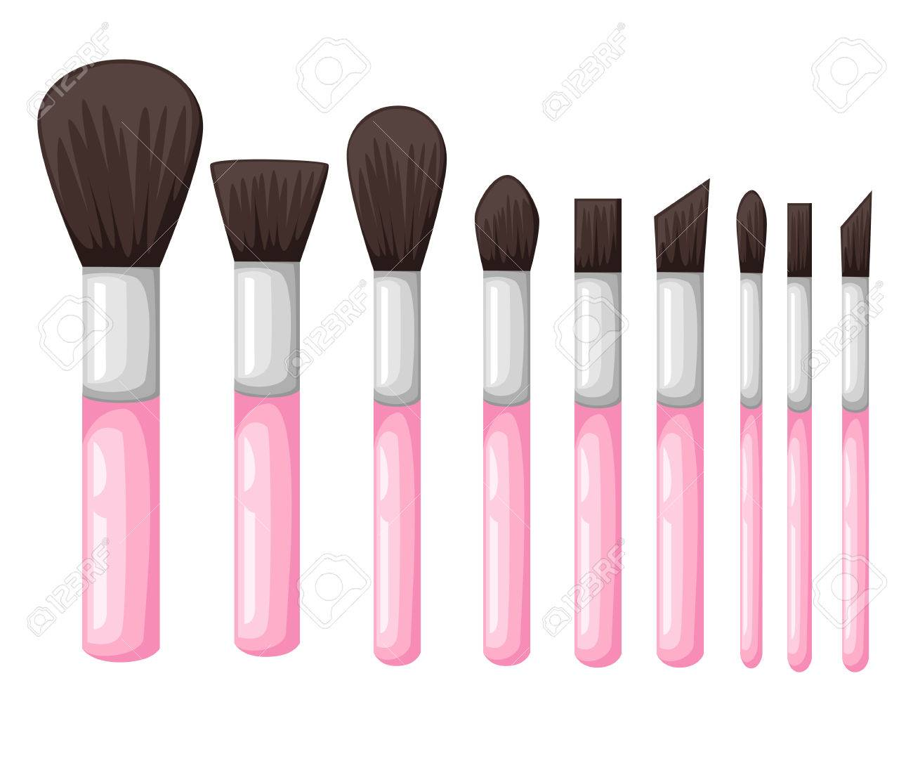 Set from makeup brushes different forms vector.