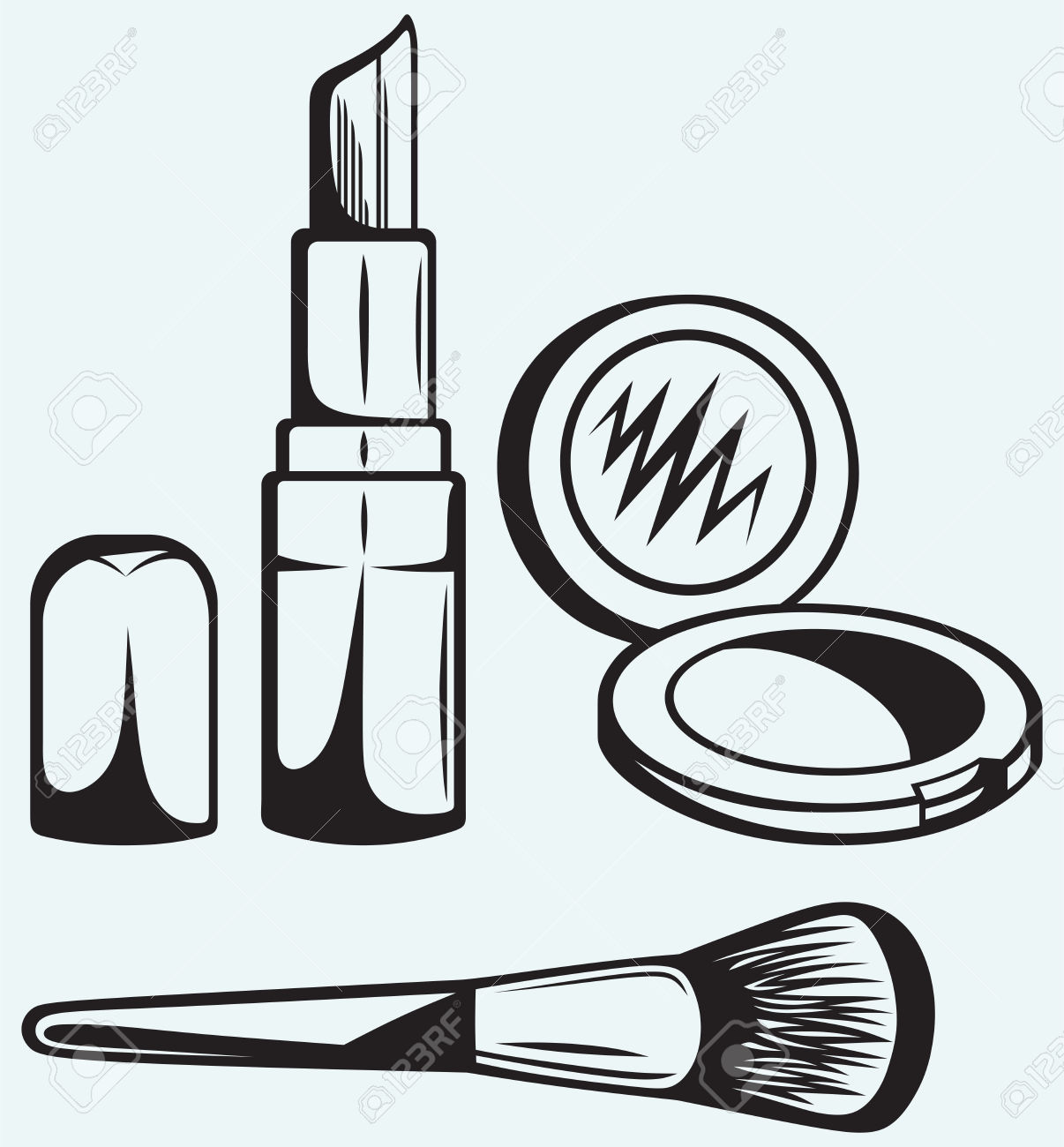 Putting On Makeup Clipart Black And White.