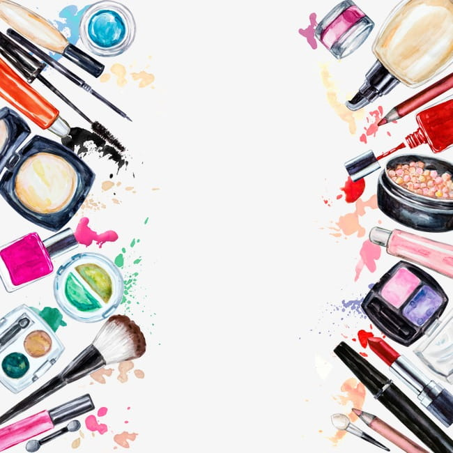 Creative makeup tools PNG clipart.