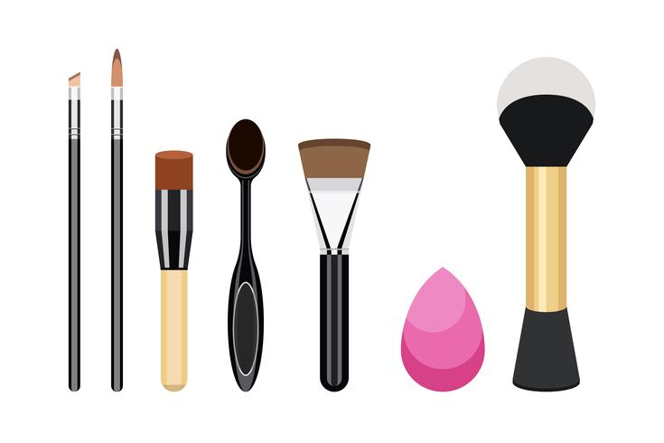 Collection of women cosmetic brush icons.