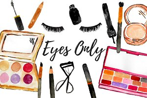 Watercolor Eye Makeup Clipart.