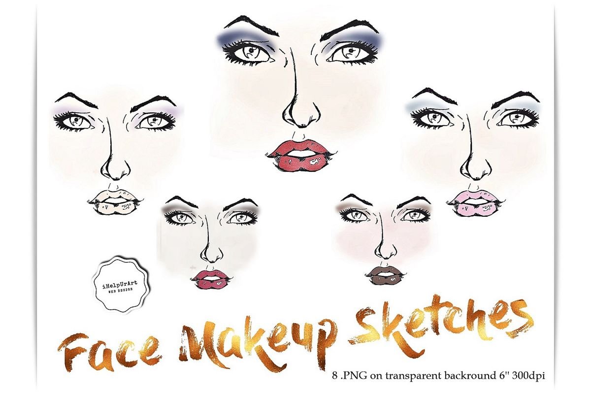 Face Makeup Sketches Clipart.