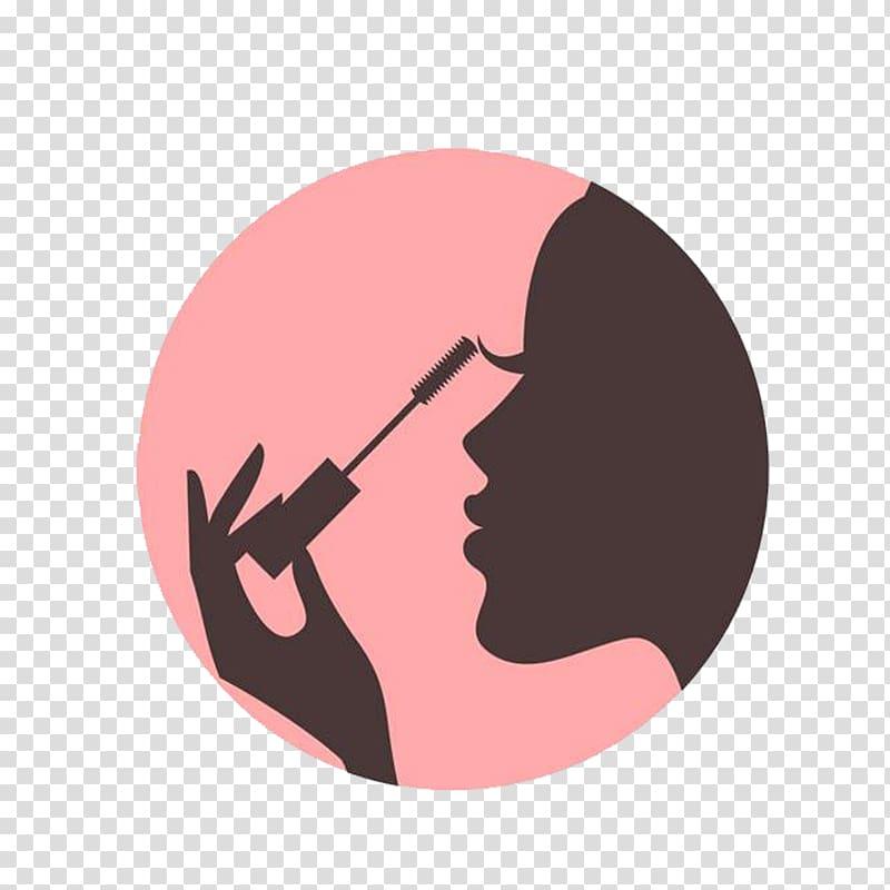 Cosmetics Beauty Icon, Girl makeup, woman doing mascara.