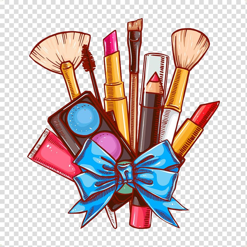 Makeup brushes and makeup kit with tie illustration.