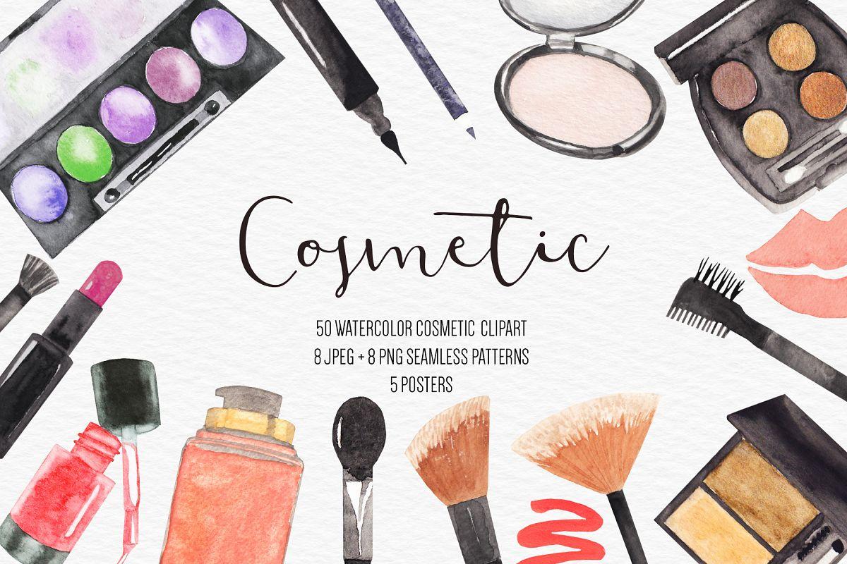 Watercolor Makeup Cosmetic Clipart.