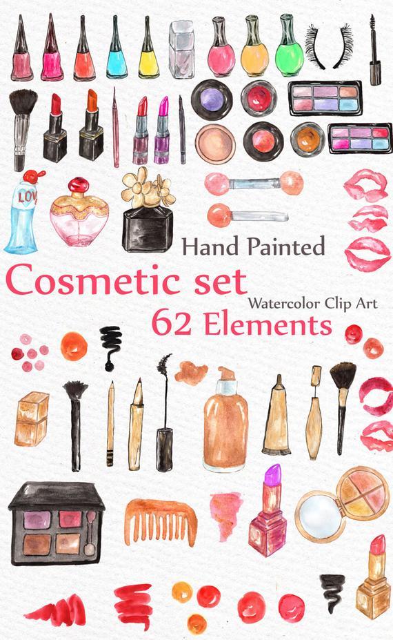 Watercolor Makeup Clipart: \