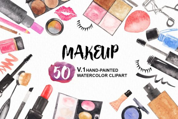 Watercolor Makeup Cosmetic Clipart.