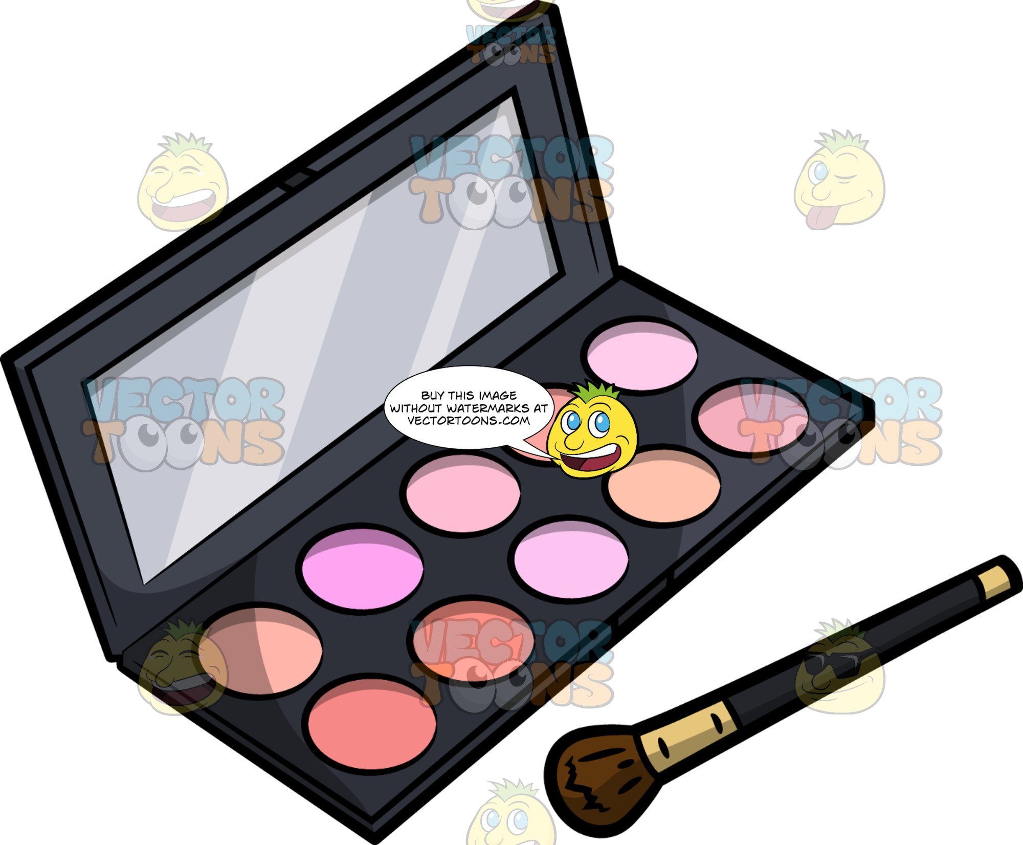 A Palette Case Of Different Blush Colors.