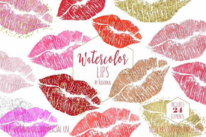 WATERCOLOR LIPS CLIPART Commercial Use Valentine\'s Day.