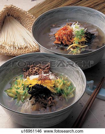 Stock Images of buckwheatjelly, korean, jelly, buckwheat, noodles.