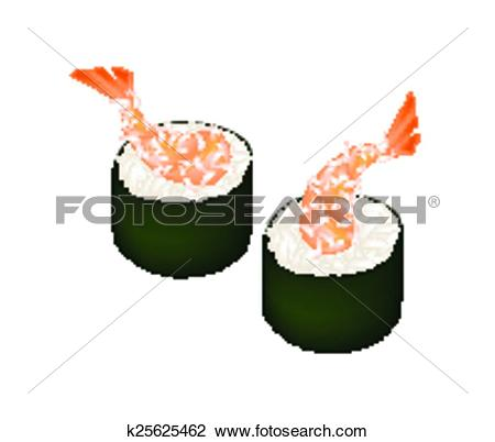 Clipart of Cucumber Sushi Roll or Cucumber Maki on White k25625482.