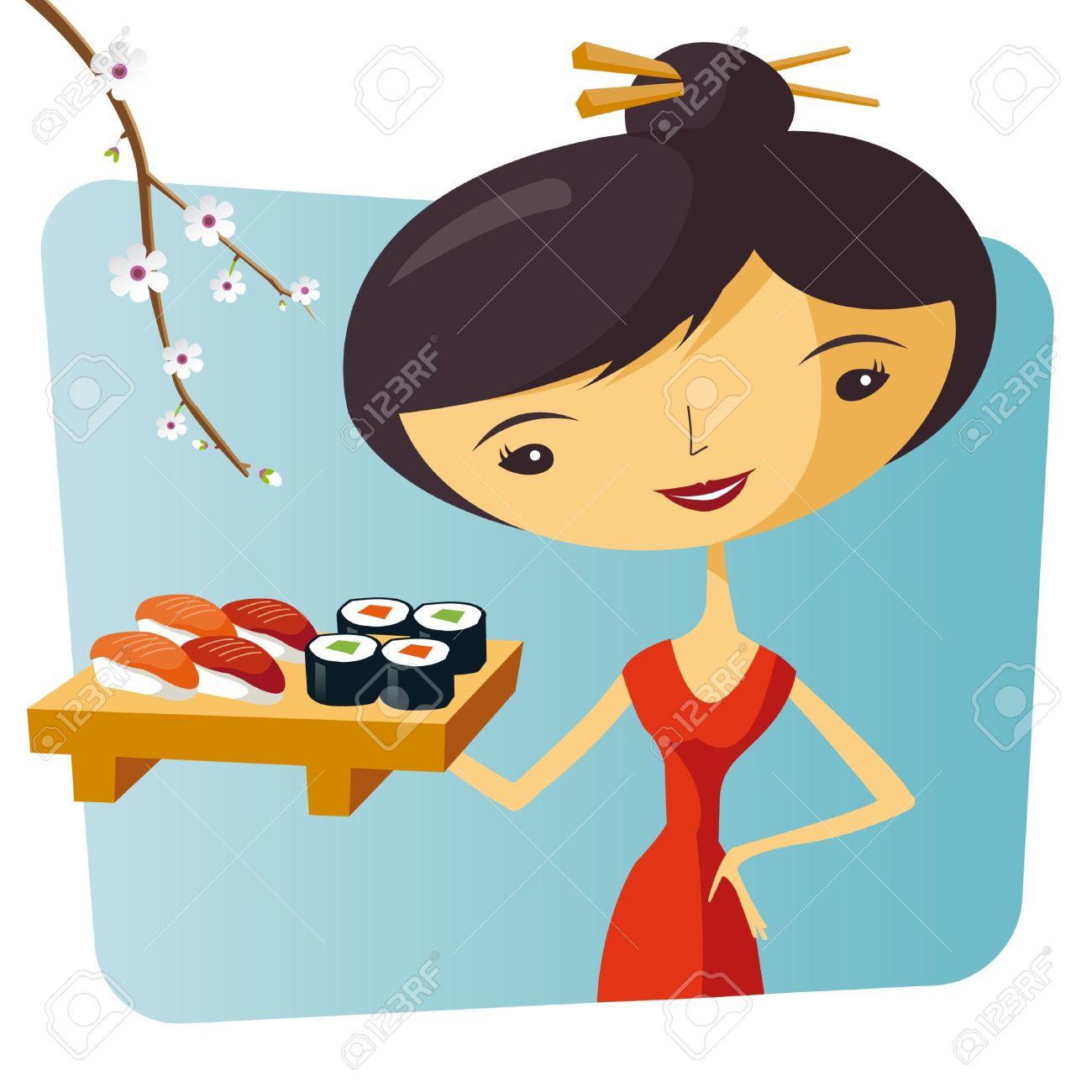 Sushi And Maki Waitress Royalty Free Cliparts, Vectors, And Stock.