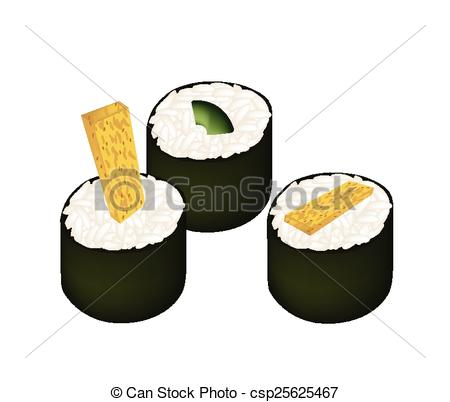 Clip Art Vector of Fried Egg Sushi Roll and Avocado Maki.