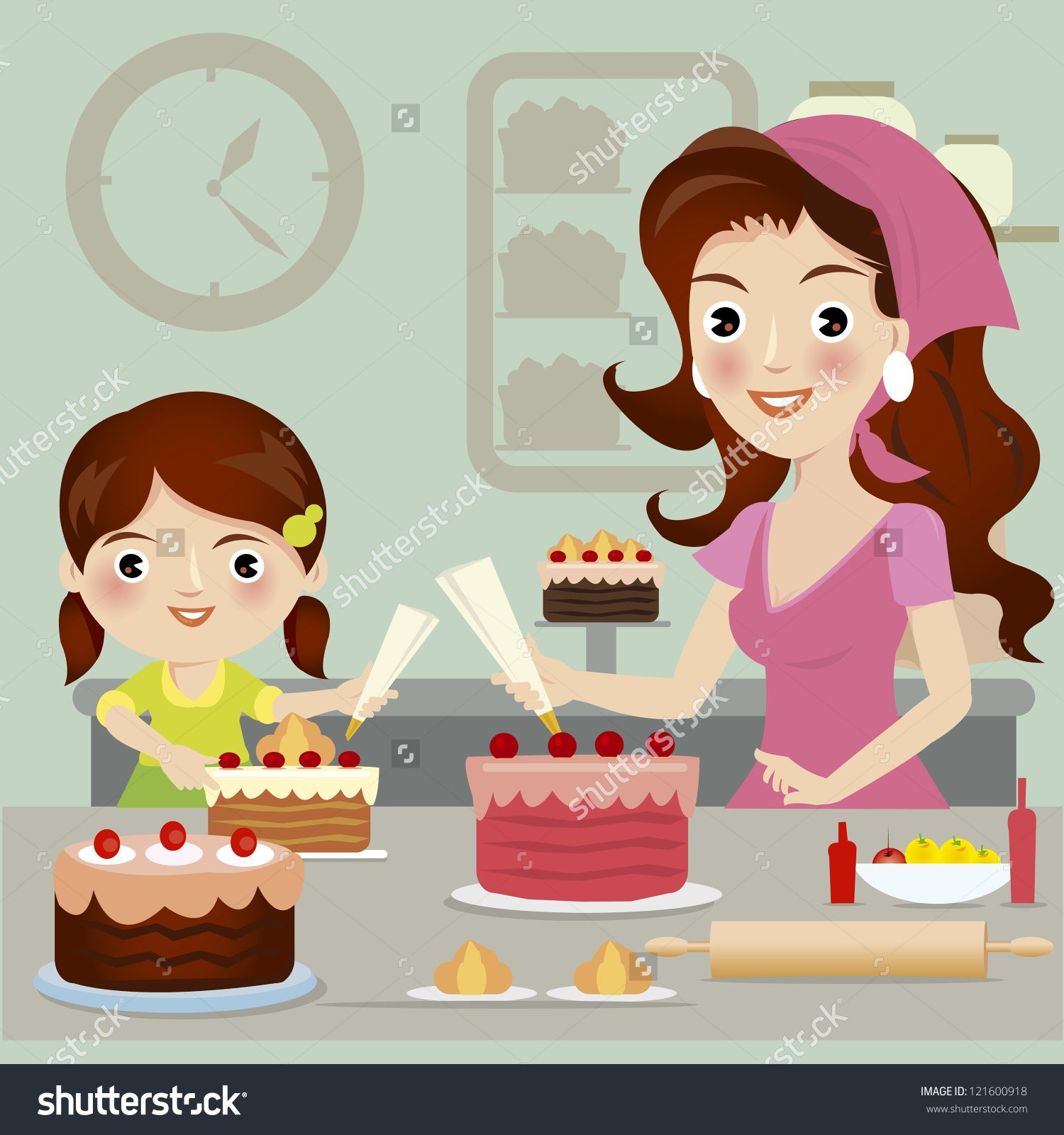 clipart lady bakery.