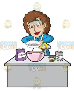 A Lady Cook Making A Cake Batter.