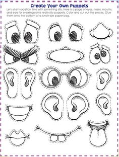 Easy printable kid activity: make a face and explore emotions.