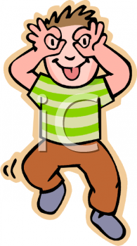 Royalty Free Clip Art Image: Boy Making a Silling Face.