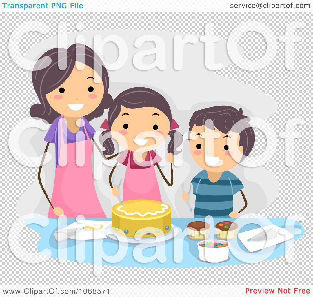 Clipart Mom And Kids Making A Cake.