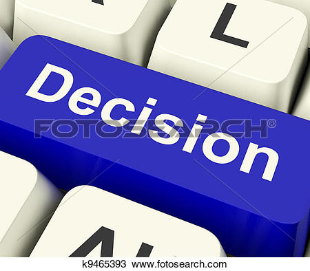 Drawing of Decision Computer Key Represents Uncertainty And Making.