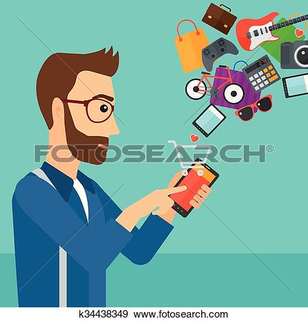 Clip Art of Man making purchases online. k34438349.