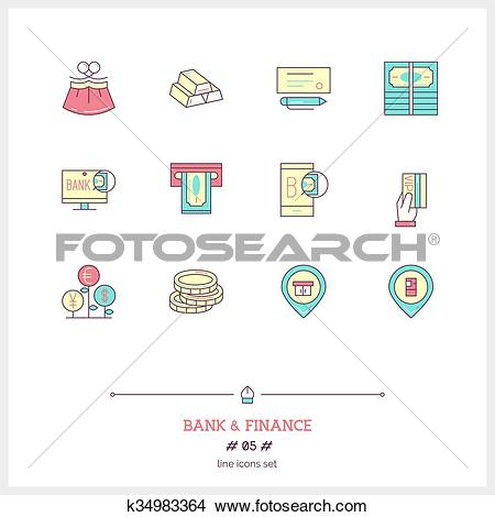 Clipart of Color line icon set of money making, banking and.