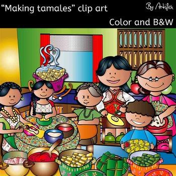 Making tamales clip art set.