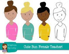 Fun female teachers clip art with commercial use. Perfect for.