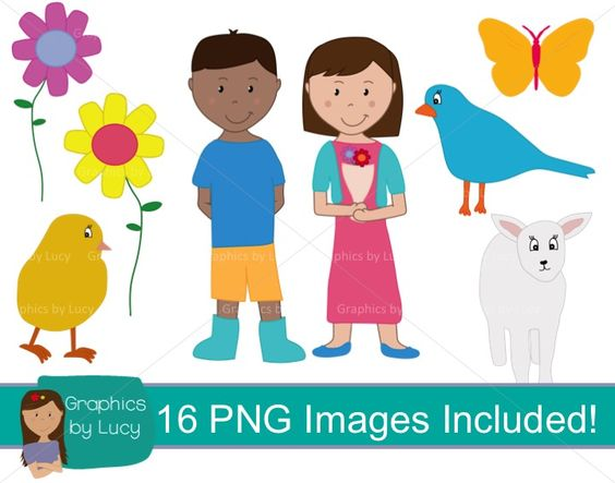Spring themed clip art with commercial use. 16 PNG Images. Perfect.