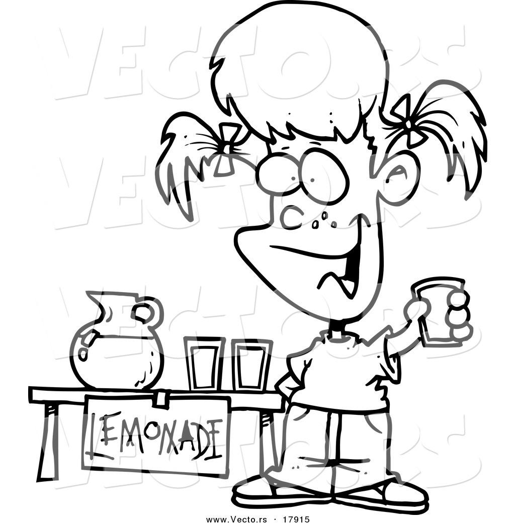 Vector of a Cartoon Little Girl Selling Lemonade.