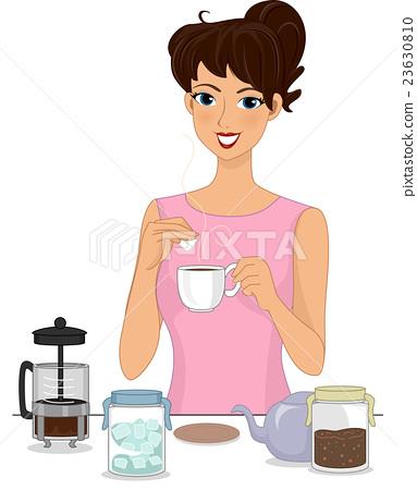 Girl Making Brewed Coffee.