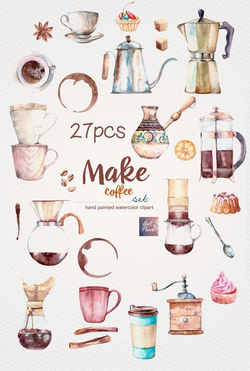 Make Coffee set Sweets and Cups Making Coffee Methods Hand.