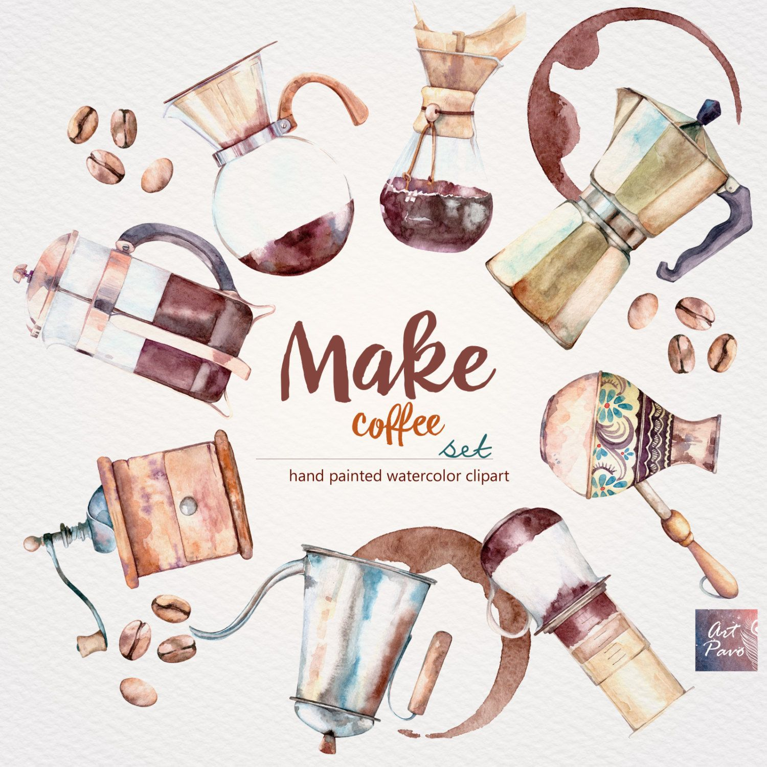 Make Coffee set, Sweets and Cups, Making Coffee Methods.