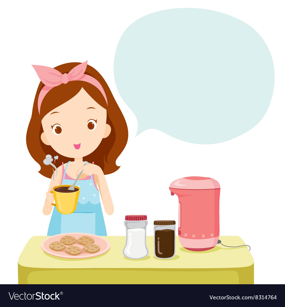 Girl Making Coffee With Talk Bubble.