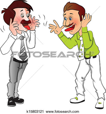 Clipart of Vector of businessmen making funny faces. k15803121.