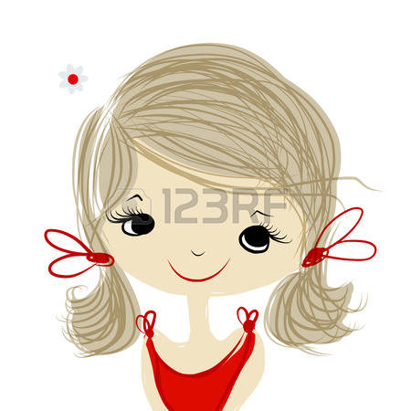Girl making faces into computer clipart.