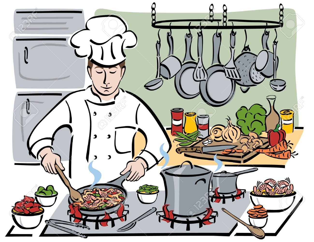 Chef Making Food Clipart.