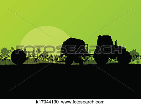 Clipart of Agriculture tractor making hay bales in cultivated.