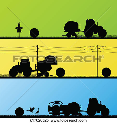 Clipart of Agriculture tractors making hay bales in cultivated.