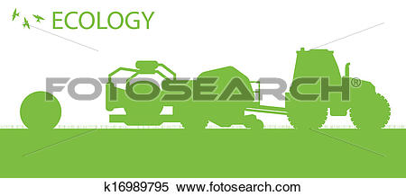 Clipart of Ecology background organic farming vector concept with.